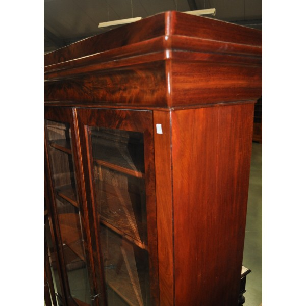 petite biblioth que vitrine 2 portes louis philippe en acajou de cuba. Black Bedroom Furniture Sets. Home Design Ideas