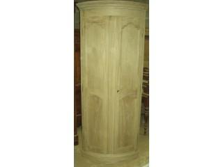 Encoignure cintrée 2 portes en chêne brut
