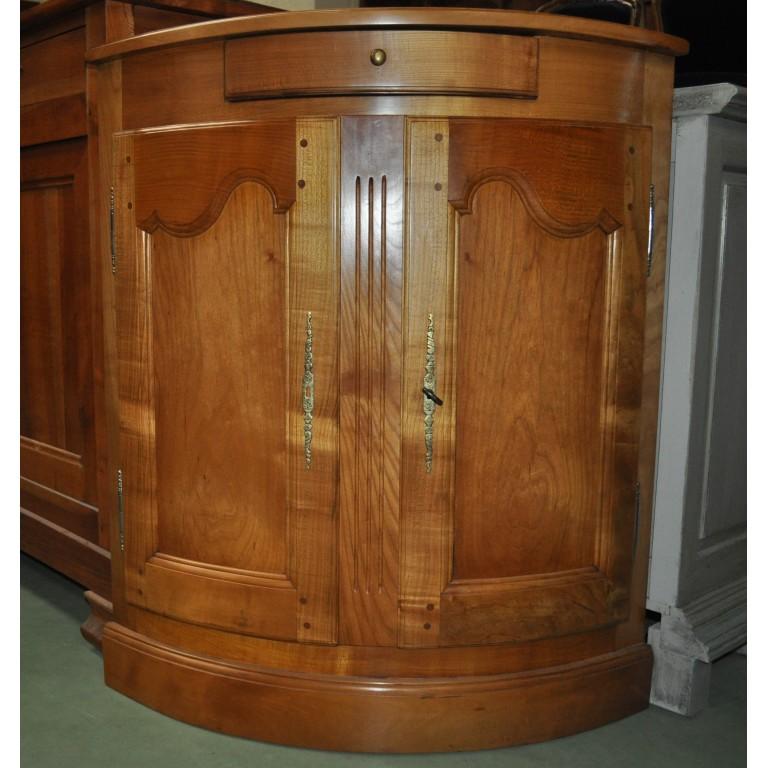Meuble d 39 angle cintr en merisier massif for Encoignure meuble