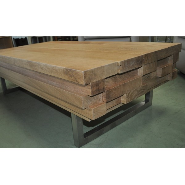 Table Basse Contemporaine Design Italien 100 Chêne Massif