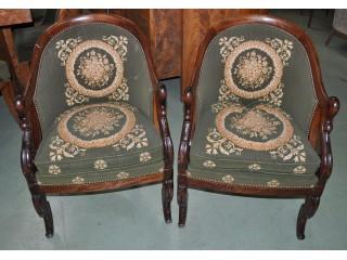 Paires de petits fauteuils stule Empire à Col de cygne