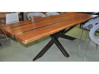 Table rectangulaire d'atelier pieds en  croix fer et bois