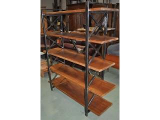 Bibliothèque étagères 4 plateaux d'atelier en  fer et bois