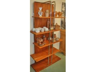 Etagère bibus style industriel bois et acier inox chromé. Fabrication artisanale.