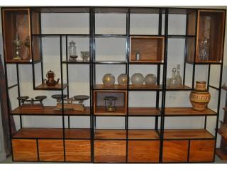 Etagères d'atelier vintage fer et bois