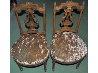 Paire de chaises Lyres noyer